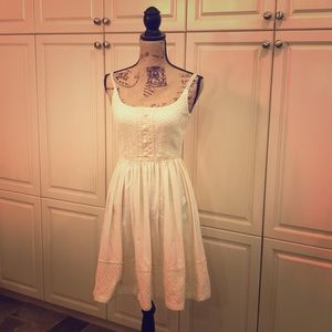 Anna Sui for Anthropologie cream embroidered dress